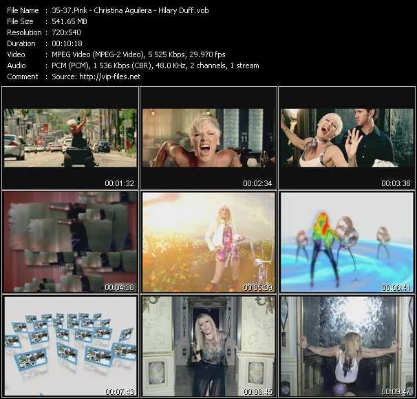 Pink - Christina Aguilera - Hilary Duff video screenshot