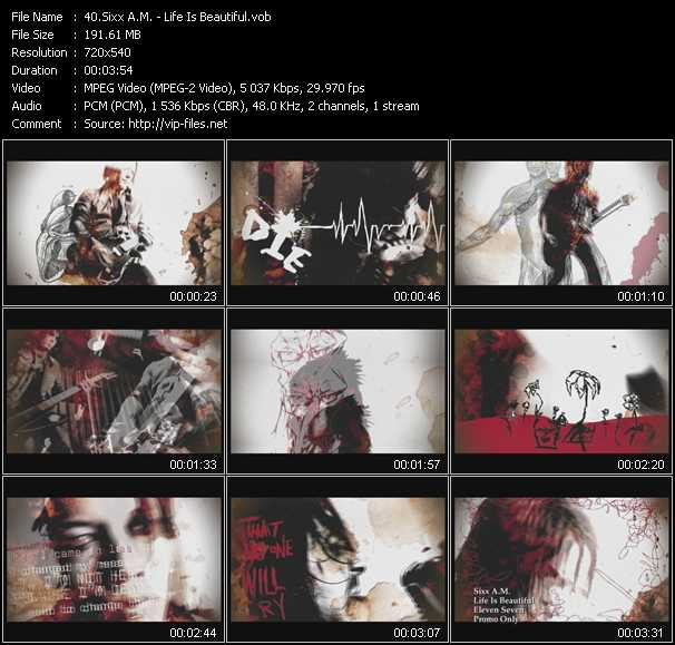 Sixx A.M. video screenshot