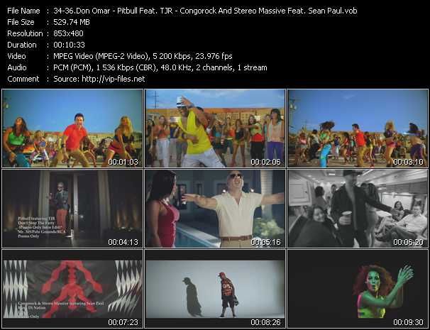Don Omar - Pitbull Feat. TJR - Congorock And Stereo Massive Feat. Sean Paul video screenshot