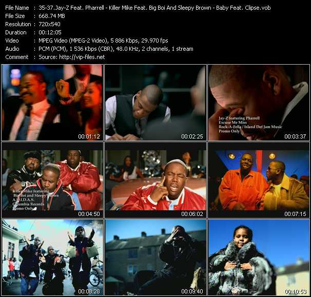 Jay-Z Feat. Pharrell - Killer Mike Feat. Big Boi And Sleepy Brown - Baby Feat. Clipse video screenshot