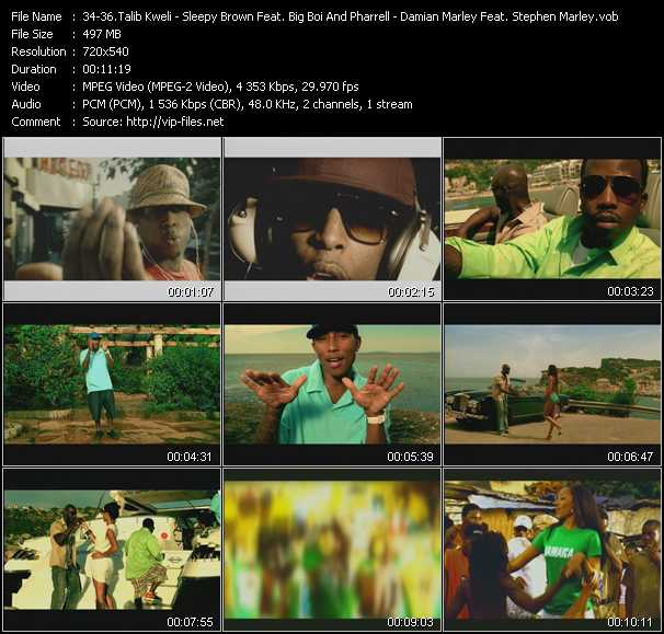 Talib Kweli - Sleepy Brown Feat. Big Boi And Pharrell Williams - Damian Marley Feat. Stephen Marley video screenshot