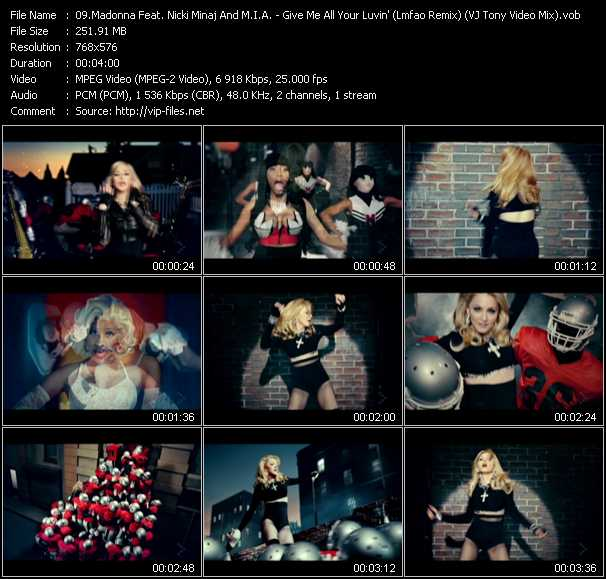 video Give Me All Your Luvin' (Lmfao Remix) (VJ Tony Video Mix) screen