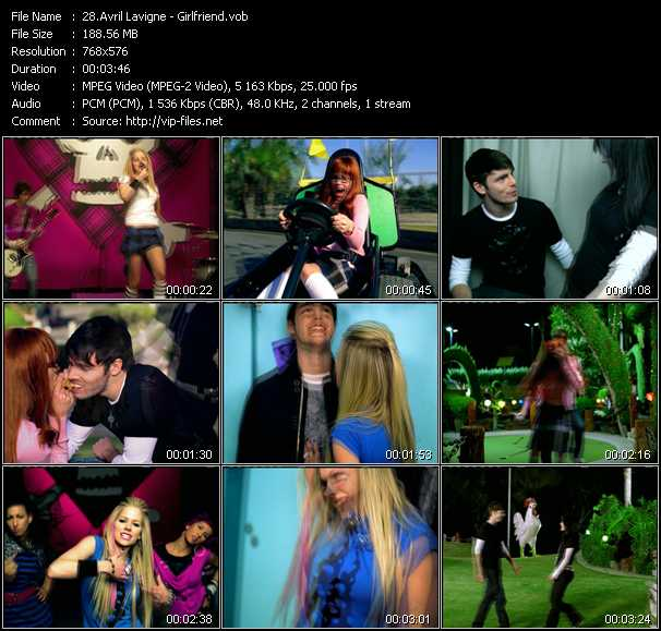 Avril Lavigne video screenshot