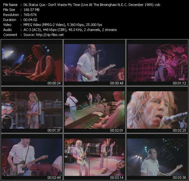 video Don't Waste My Time (Live At The Birmingham N.E.C. December 1989) screen