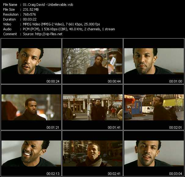 Craig David video screenshot