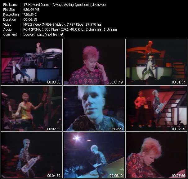 Howard Jones video screenshot