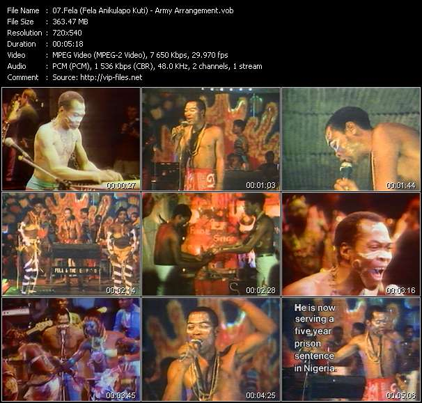 Fela (Fela Anikulapo Kuti) video screenshot