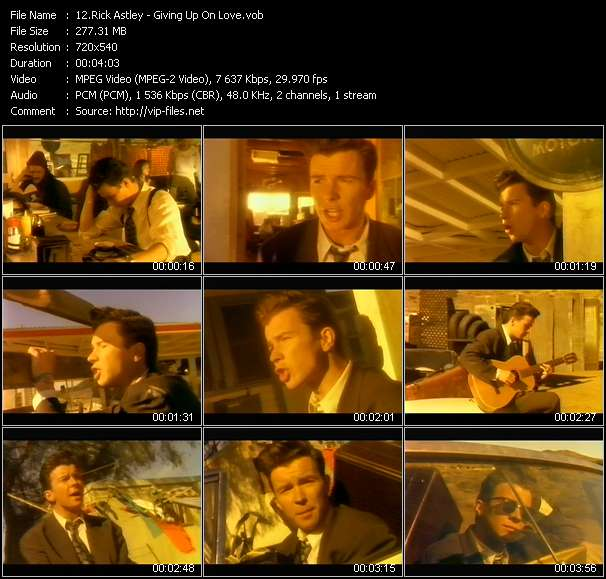 Rick Astley video screenshot