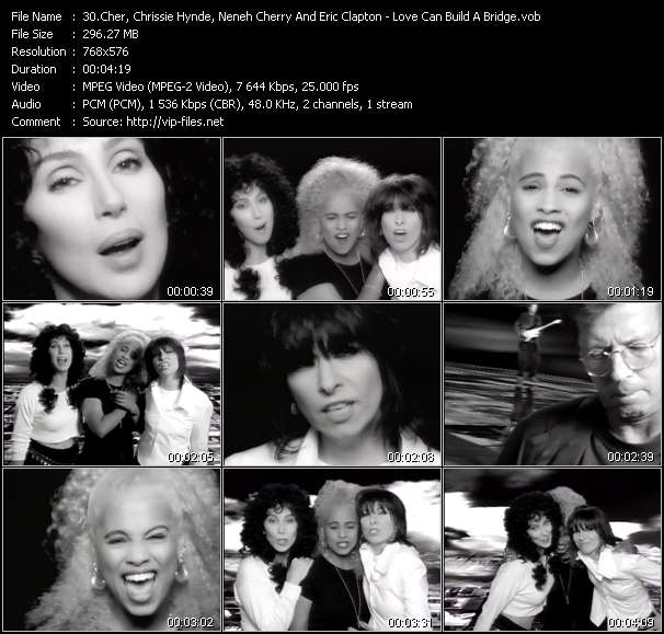 Cher, Chrissie Hynde, Neneh Cherry And Eric Clapton video screenshot
