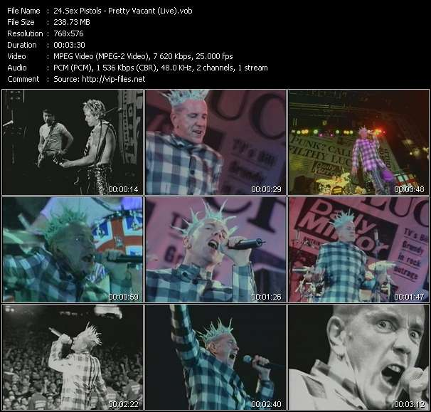 video Pretty Vacant (Live) screen