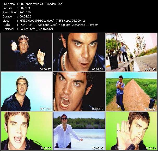 Robbie Williams video screenshot