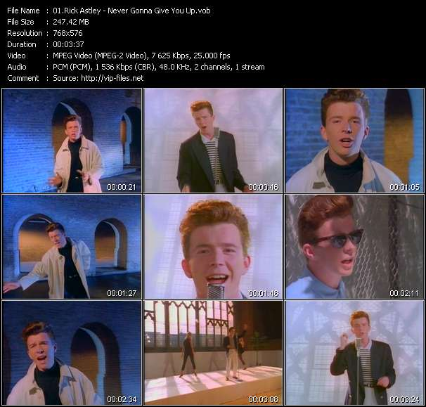 Rick Astley video screenshot