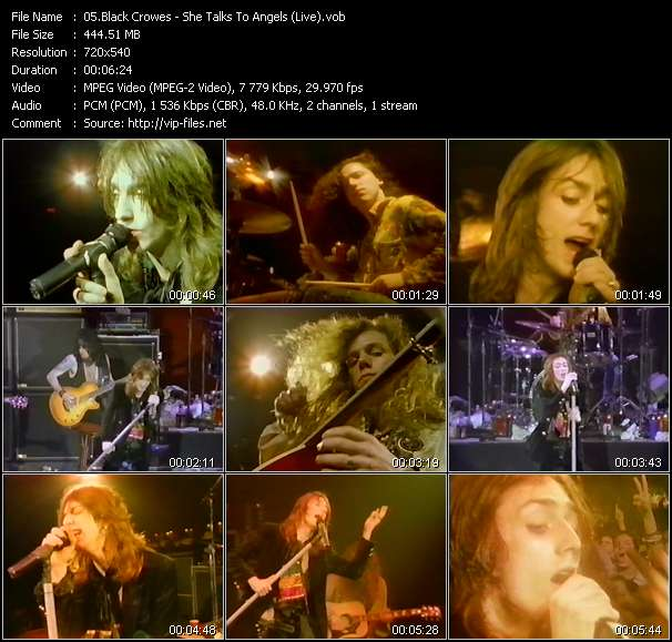 video She Talks To Angels (Live) screen