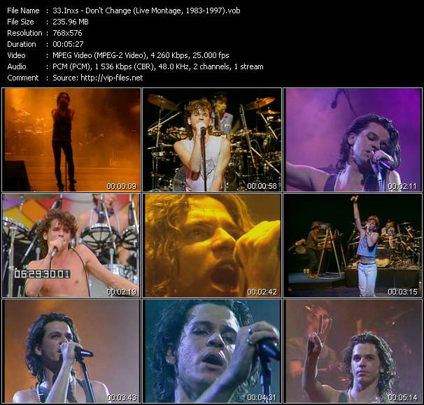 video Don't Change (Live Montage, 1983-1997) screen