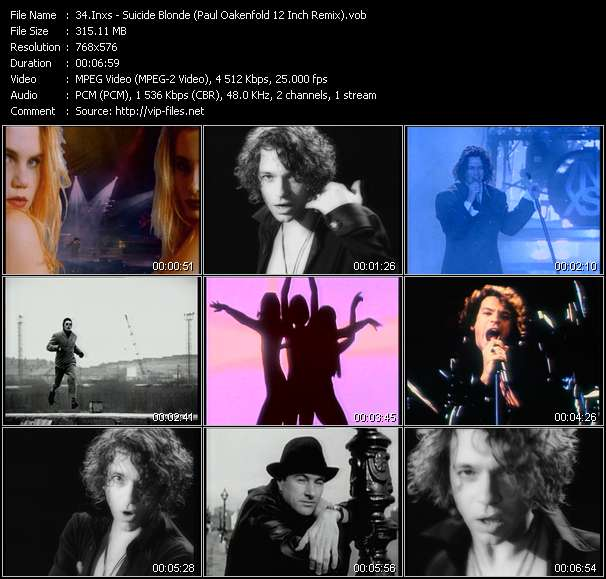 video Suicide Blonde (Paul Oakenfold 12 Inch Remix) screen