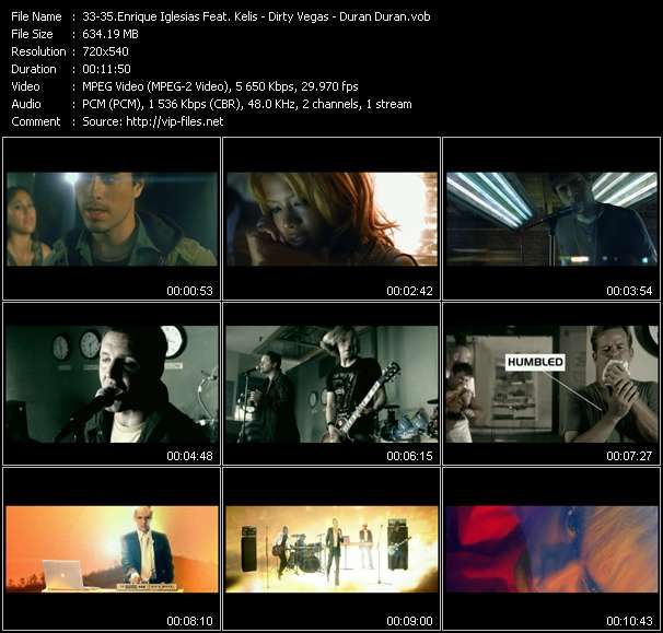 Enrique Iglesias Feat. Kelis - Dirty Vegas - Duran Duran video screenshot