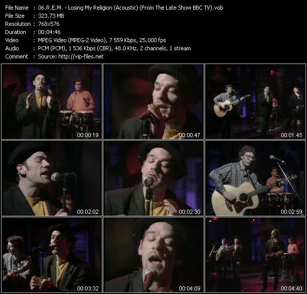 video Losing My Religion (Acoustic) (From The Late Show BBC TV) screen
