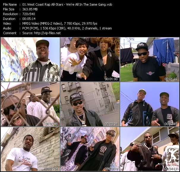 West Coast Rap All-Stars (King Tee, Body And Soul, Def Jef, Michel'le, Tone Loc, Above The Law, Ice-T, Dr. Dre, Mc Ren, Young MC, Digital Underground, Mc Hammer And Eazy-E) video screenshot