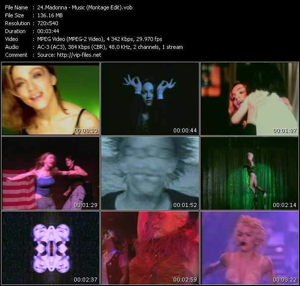 video Music (Montage Edit) screen