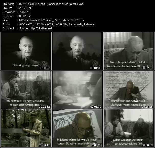 William Burroughs video screenshot