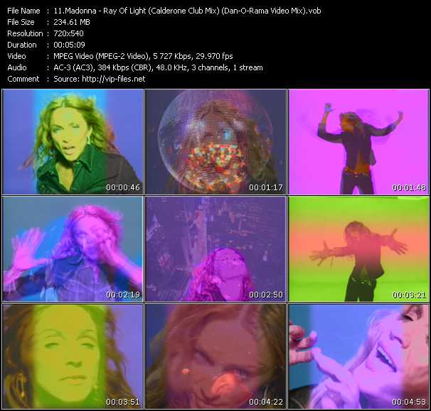 video Ray Of Light (Calderone Club Mix) (Dan-O-Rama Video Mix) screen