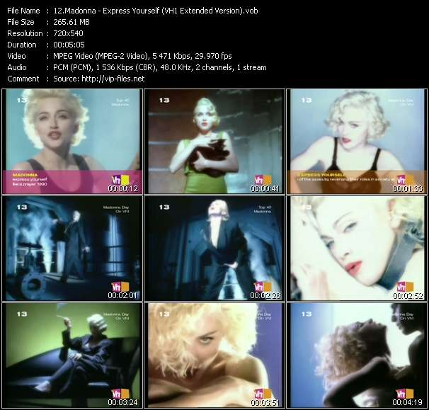 video Express Yourself (VH1 Extended Version) screen