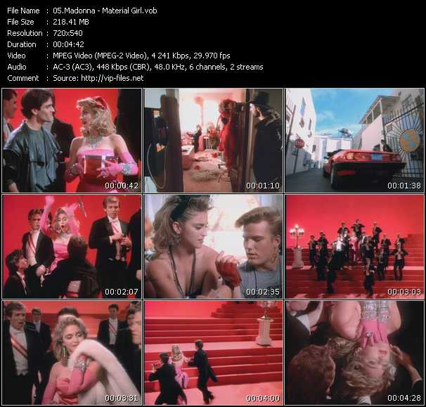 video Material Girl screen