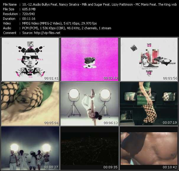 Audio Bullys Feat. Nancy Sinatra - Milk And Sugar Feat. Lizzy Pattinson - MC Mario Feat. The King video screenshot