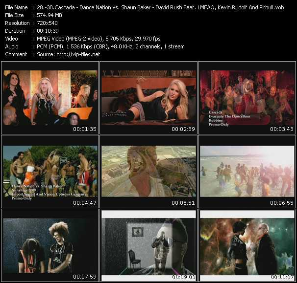 Cascada - Dance Nation Vs. Shaun Baker - David Rush Feat. Lmfao, Kevin Rudolf And Pitbull video screenshot