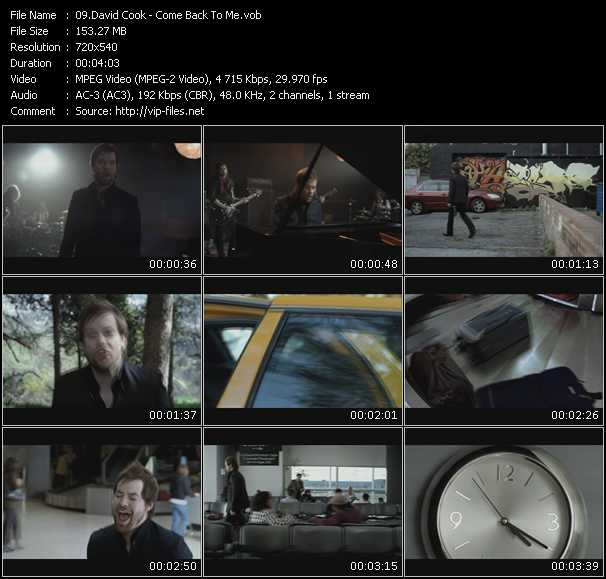 David Cook video screenshot