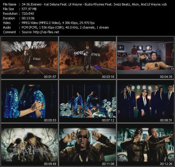 Eminem - Kat DeLuna Feat. Lil' Wayne - Busta Rhymes Feat. Ron Browz, P. Diddy (Puff Daddy), Swizz Beatz, Akon, And Lil' Wayne video screenshot