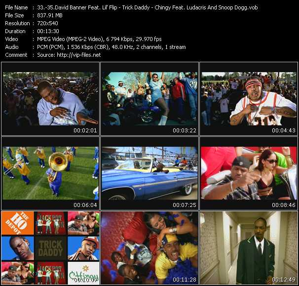 David Banner Feat. Lil' Flip - Trick Daddy Feat. Duece Poppito Of 24 Karat, Trina And Co Of Tre Plus 6 - Chingy Feat. Ludacris And Snoop Dogg video screenshot
