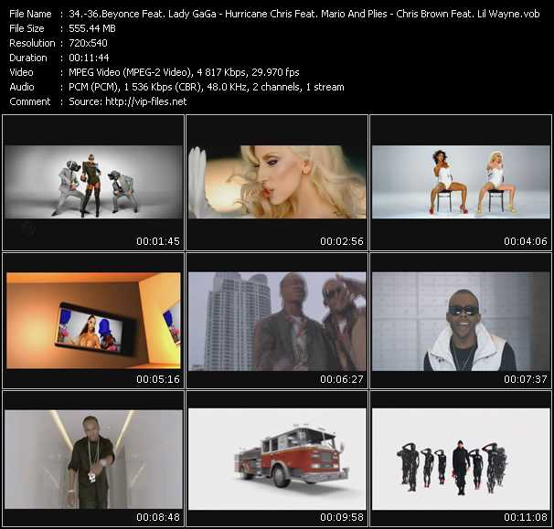 Beyonce Feat. Lady GaGa - Hurricane Chris Feat. Mario And Plies - Chris Brown Feat. Lil' Wayne And Swizz Beatz video screenshot