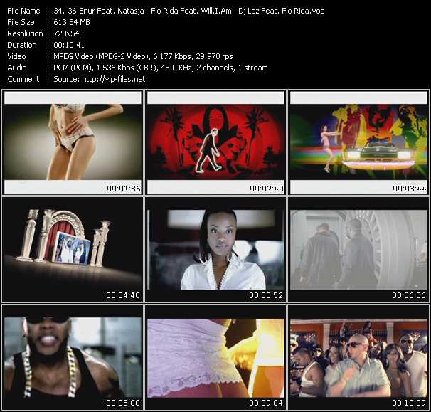 Enur Feat. Natasja - Flo Rida Feat. Will.I.Am - Dj Laz Feat. Flo Rida, Casely And Pitbull video screenshot
