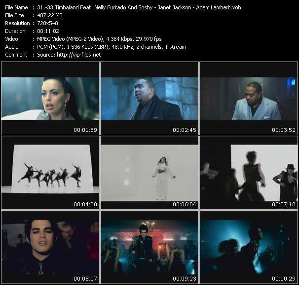 Timbaland Feat. Nelly Furtado And SoShy - Janet Jackson - Adam Lambert video screenshot