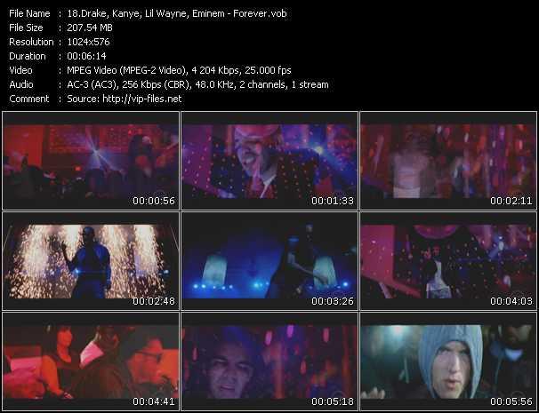 Drake, Kanye, Lil' Wayne, Eminem video screenshot