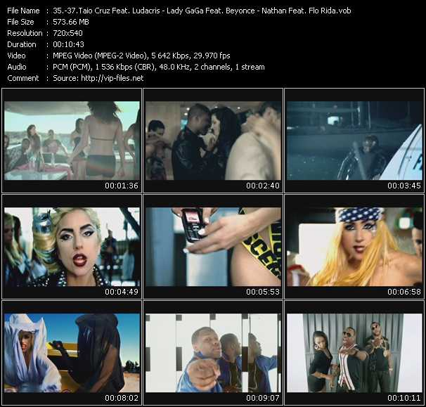 Taio Cruz Feat. Ludacris - Lady GaGa Feat. Beyonce - Nathan Feat. Flo Rida video screenshot