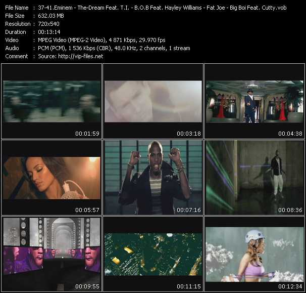 Eminem - The-Dream Feat. T.I. - B.O.B. aka Bobby Ray Feat. Hayley Williams - Fat Joe Feat. Young Jeezy - Big Boi Feat. Cutty video screenshot
