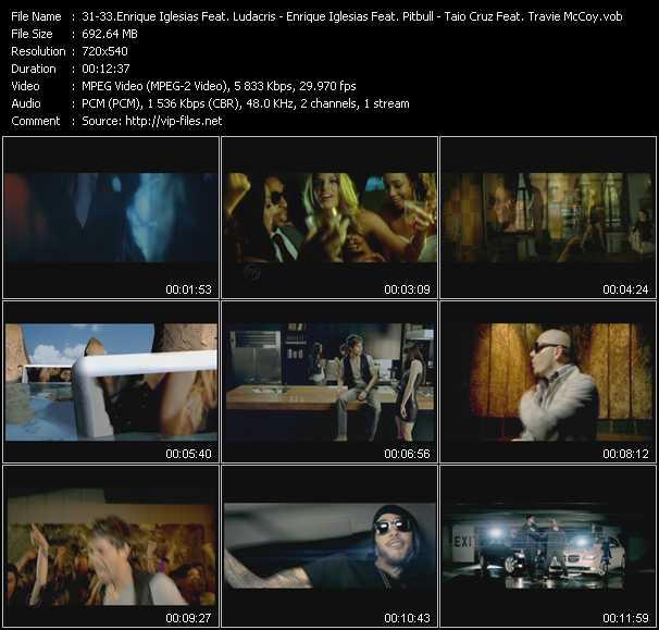Enrique Iglesias Feat. Ludacris - Enrique Iglesias Feat. Pitbull - Taio Cruz Feat. Travis McCoy video screenshot