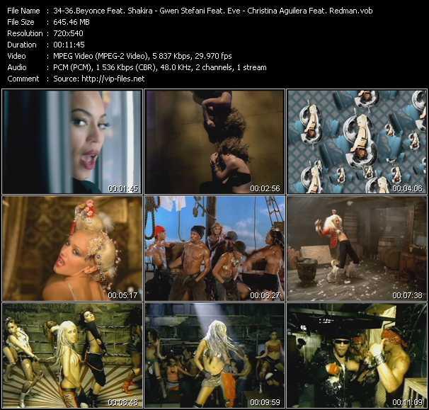 Beyonce Feat. Shakira - Gwen Stefani Feat. Eve - Christina Aguilera Feat. Redman video screenshot