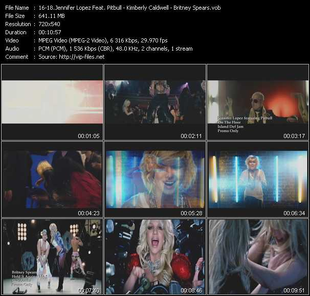 Jennifer Lopez Feat. Pitbull - Kimberly Caldwell - Britney Spears video screenshot