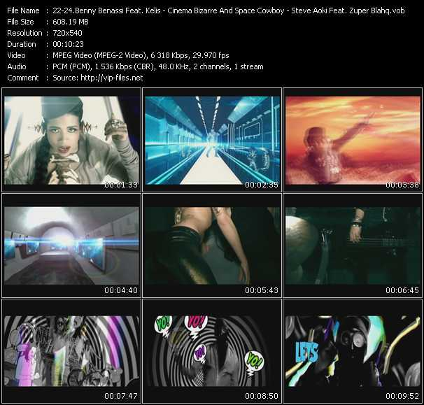 Benny Benassi Feat. Kelis, Apl.De.Ap And Jean-Baptiste - Cinema Bizarre And Space Cowboy - Steve Aoki Feat. Zuper Blahq video screenshot
