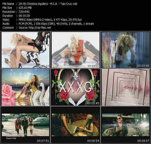 Christina Aguilera - M.I.A. - Taio Cruz video screenshot