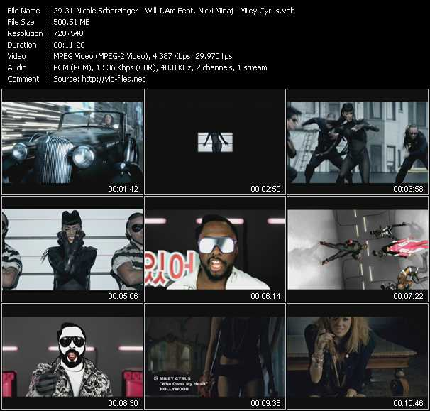 Nicole Scherzinger - Will.I.Am Feat. Nicki Minaj - Miley Cyrus video screenshot