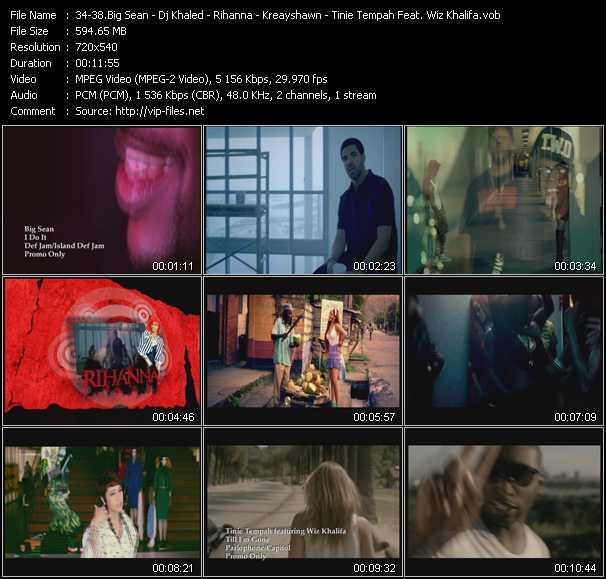 Big Sean - Dj Khaled Feat. Drake, Lil' Wayne And Rick Ross - Rihanna - Kreayshawn - Tinie Tempah Feat. Wiz Khalifa video screenshot