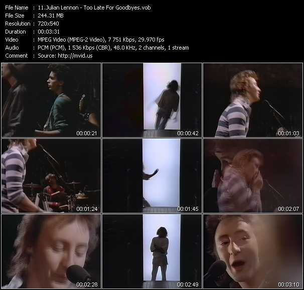 video Too Late For Goodbyes screen