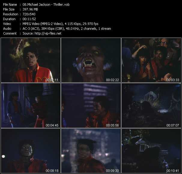 video Thriller screen