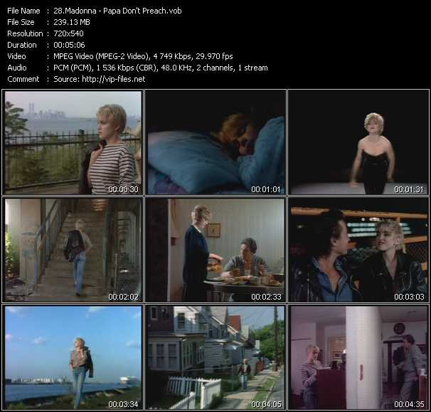 video Papa Don't Preach screen