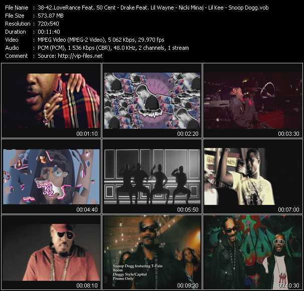 LoveRance Feat. 50 Cent - Drake Feat. Lil' Wayne And Tyga - Nicki Minaj - Lil' Kee Feat. Keezone Boyz - Snoop Dogg Feat. T-Pain video screenshot