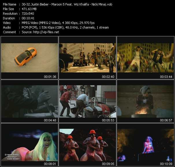 Justin Bieber - Maroon 5 Feat. Wiz Khalifa - Nicki Minaj video screenshot